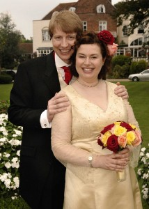 Hilary Leighter at her own wedding